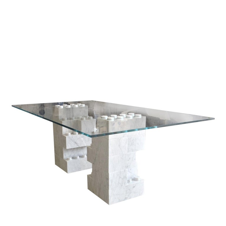 Italian Dining Table with Carrara Marble Base For Sale