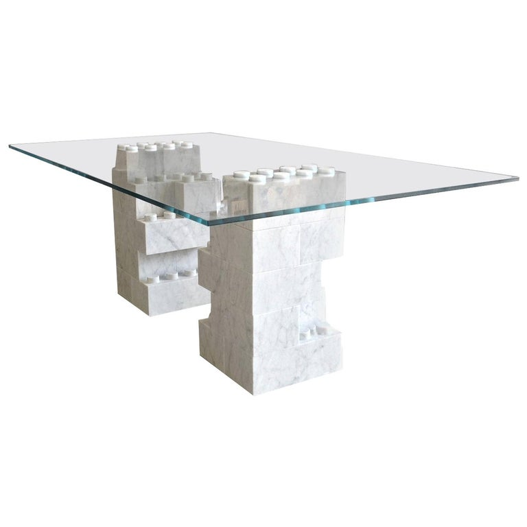 Dining Table with Carrara Marble Base For Sale