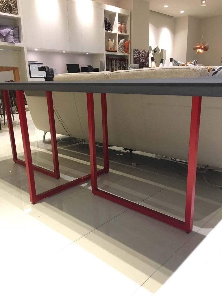 Modern Dining Table with Cement Finished Top and Red Tubular Steel Frame by Driade For Sale