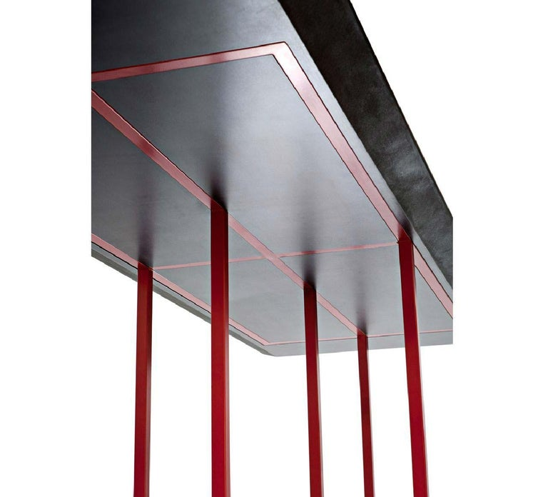 Italian Dining Table with Cement Finished Top and Red Tubular Steel Frame by Driade For Sale