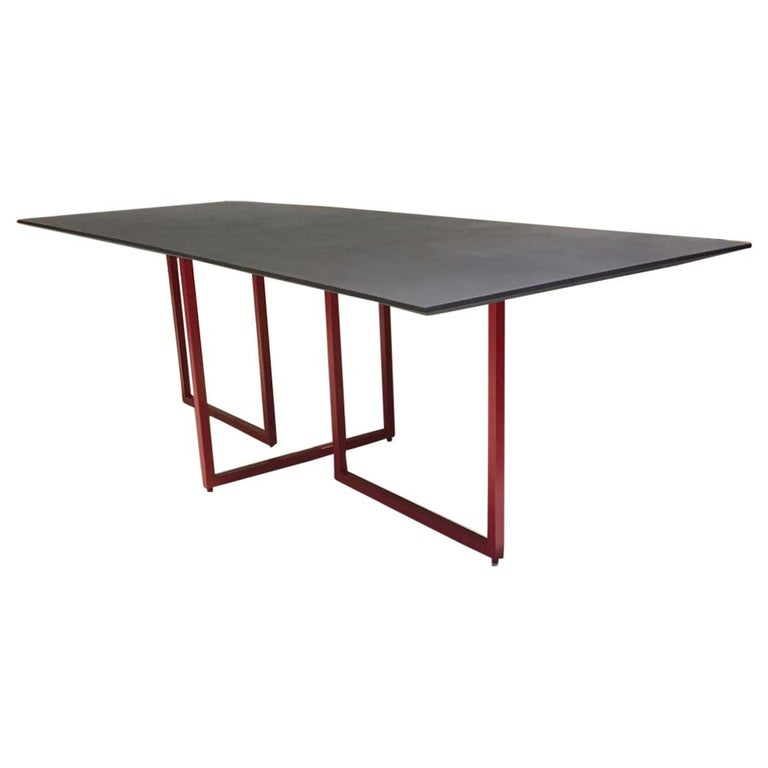 Dining Table With Cement Finished Top And Red Tubular Steel Frame