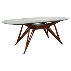 Dining Table with Green Marble Top, Italy 1950s