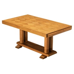 Dining Table with Inlayed Tabletop in Solid Oak