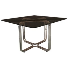 Dining Table with Smoky Glass Top and Chromed Metal Structure from 1970s