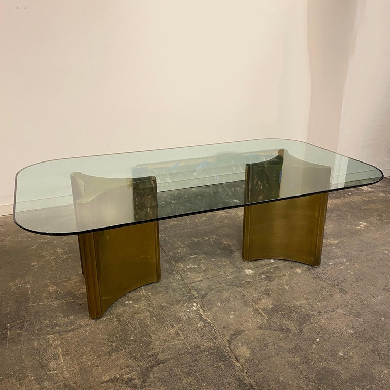 Mid-Century Modern Dining Table with Solid Brass Pedestals by Mastercraft For Sale