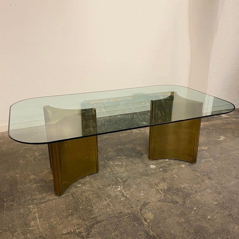 Dining Table with Solid Brass Pedestals by Mastercraft In Good Condition For Sale In Los Angeles, CA
