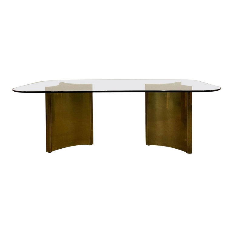 Dining Table with Solid Brass Pedestals by Mastercraft For Sale