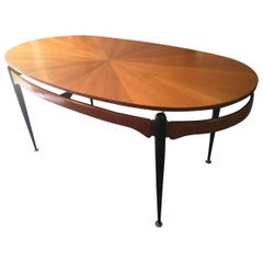 Dining Table with Sunburst Top Attributed to Silvio Cavatorta, Italy, 1950s