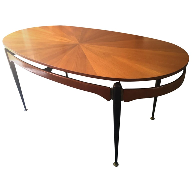 Dining Table with Sunburst Top Attributed to Silvio Cavatorta, Italy, 1950s For Sale