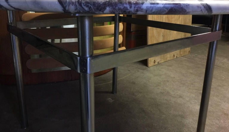 Dining Table with Wonderful Marble Top and Matt Chromed Base For Sale 3