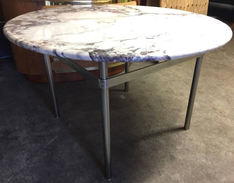 Dining Table with Wonderful Marble Top and Matt Chromed Base In Good Condition For Sale In Munich, DE