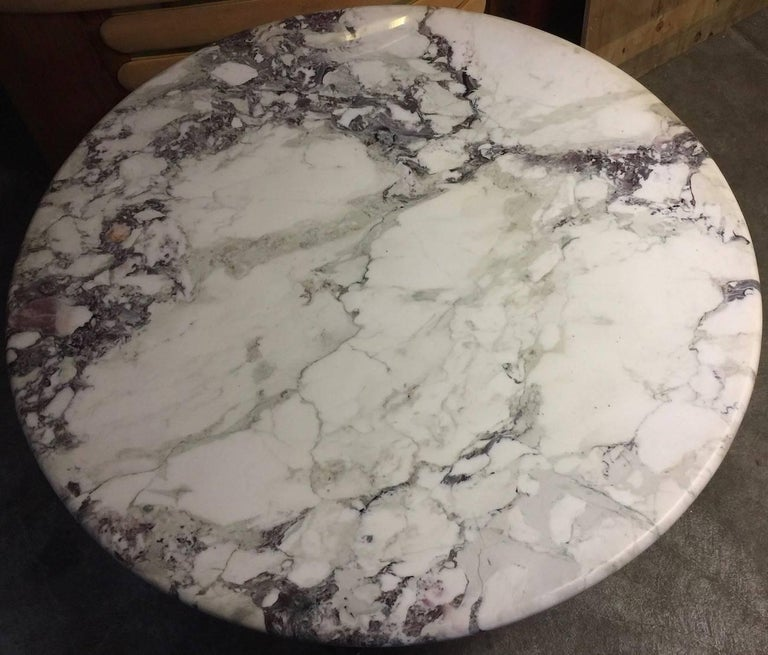 Mid-20th Century Dining Table with Wonderful Marble Top and Matt Chromed Base For Sale