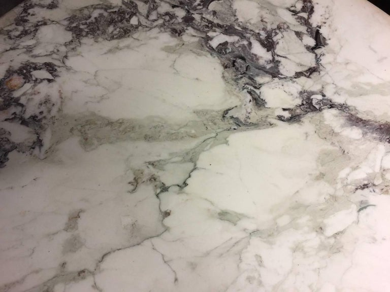 Carrara Marble Dining Table with Wonderful Marble Top and Matt Chromed Base For Sale