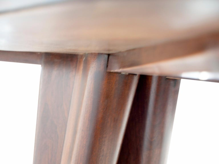 Dining Table with Wooden Structure and Glass Top For Sale 3