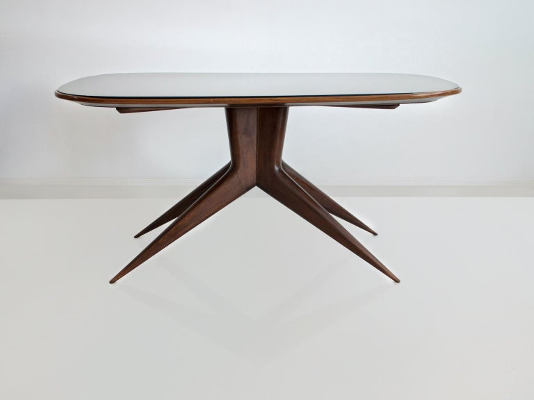 Dining Table with Wooden Structure and Glass Top For Sale 4