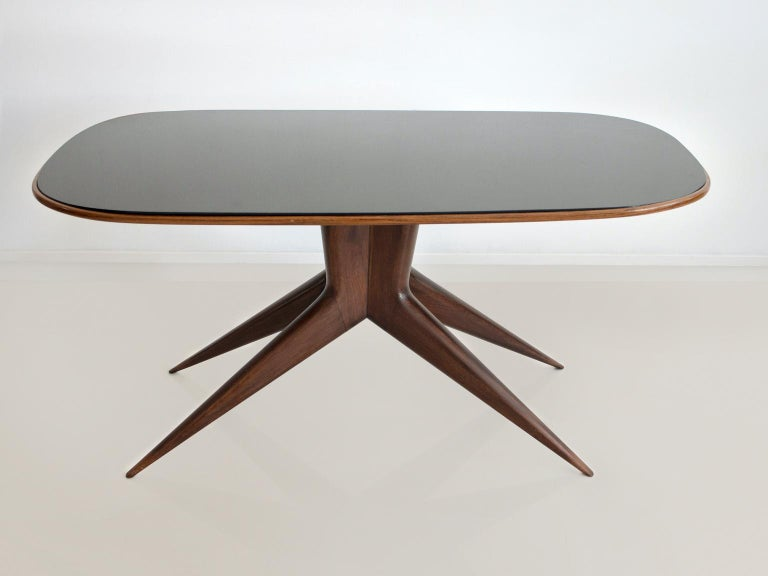 Mid-Century Modern Dining Table with Wooden Structure and Glass Top For Sale