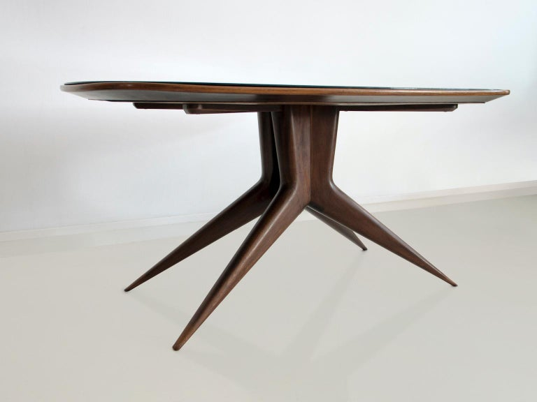 Italian Dining Table with Wooden Structure and Glass Top For Sale
