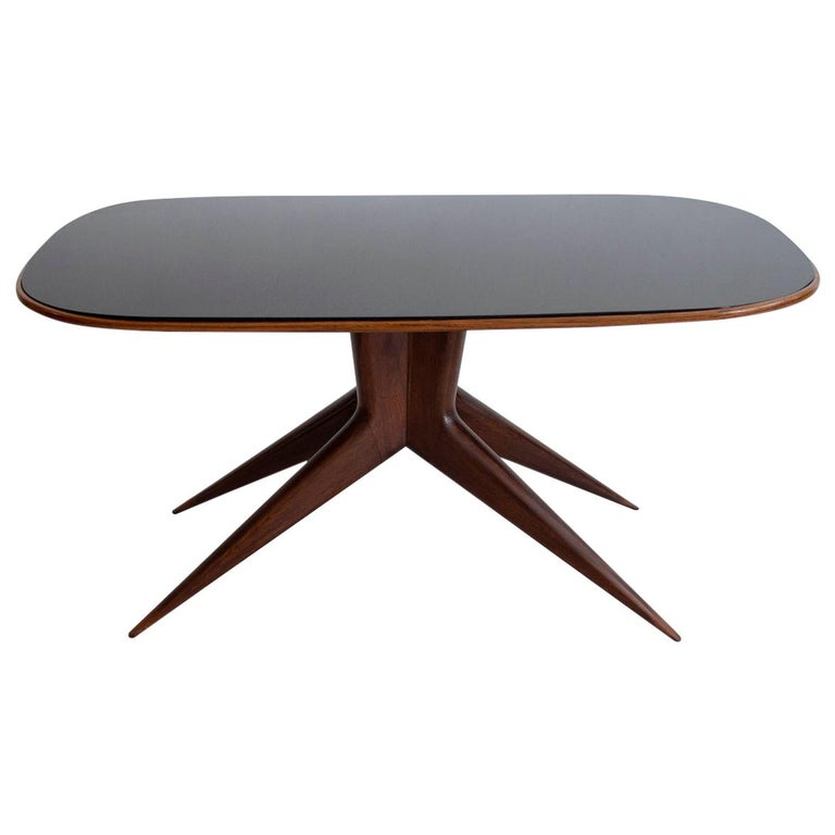 Dining Table with Wooden Structure and Glass Top For Sale