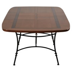 Dining Table with Wrought Iron Legs, Cherry Stained with Black Lacquered Pattern