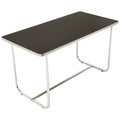 Dining / Work Table by Wolfgang Hoffmann, Tubular Chrome and Black Laminate