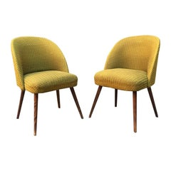 Dinish beech and green fabric armchairs, 1960s