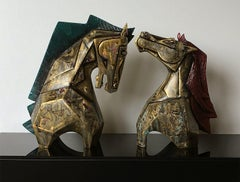 """Horse Pair, Fiber Glass, Color Blue, Gold, Red Indian Art """"In Stock"""""""