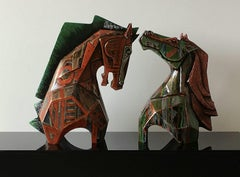 """Horse Pair, Fiber Glass, Color Blue, Gold, Red , Coral , Indian Art """"In Stock"""""""