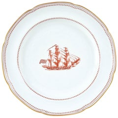 Dinner Plate in Spode Tradewinds in Red, Gold Trimmed, Vintage, circa 1960s