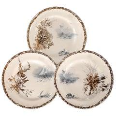 Dinner Plates, French Faience Choisy-le-Roi with Rare Marine Decor, 19th Century