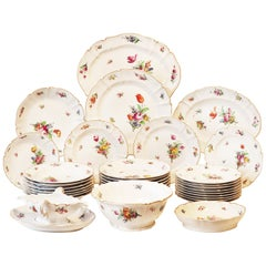 Dinner Service, 19th Century Porcelain, German, Hand Painted with Flowers Décor