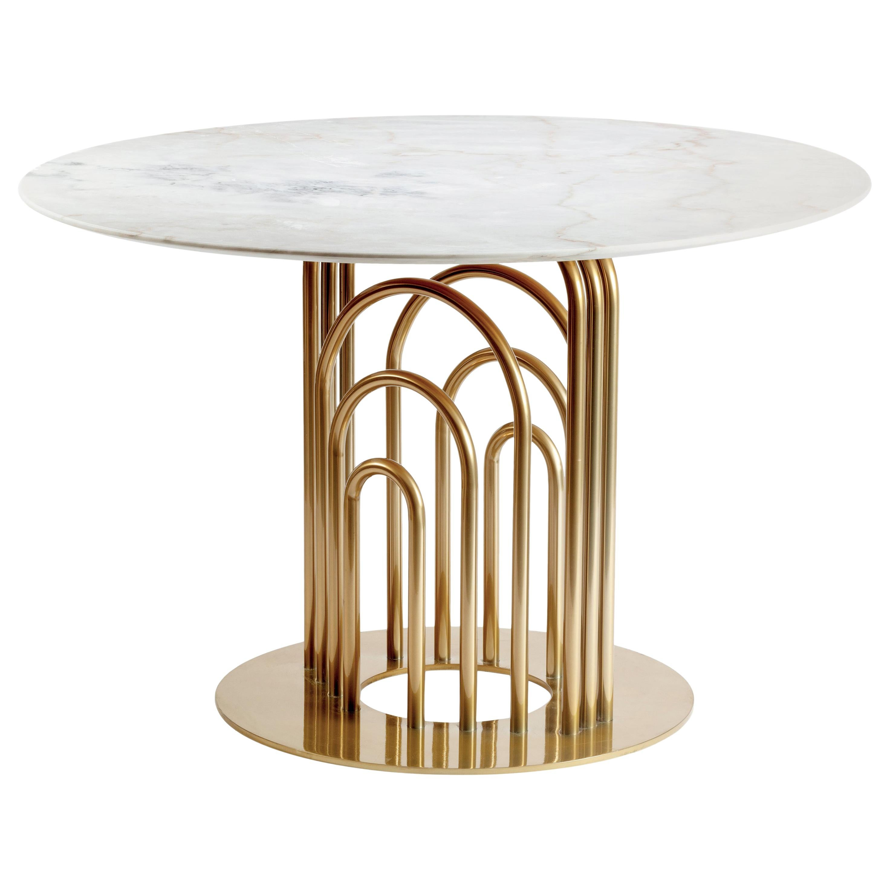 Brass and Marble Dinner Table Bara 150cm Ø