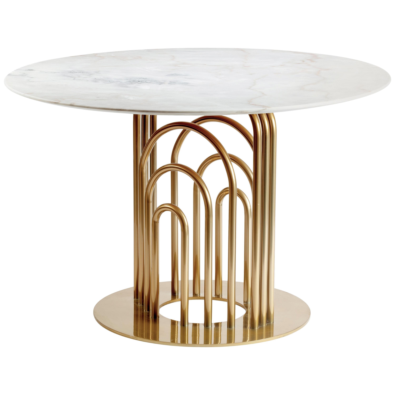 Brass and Marble Dinner Table Bara 120cm Ø