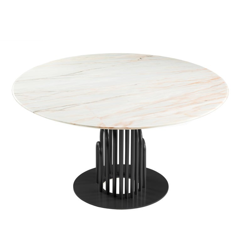 Dinner Table Bara in Marble and Lacquered Metal 2
