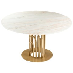 Dinner Table Bara in Marble and Lacquered Metal