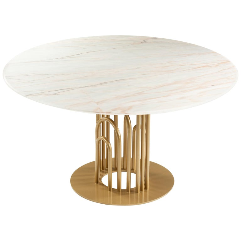 Dinner Table Bara in Marble and Lacquered Metal 1