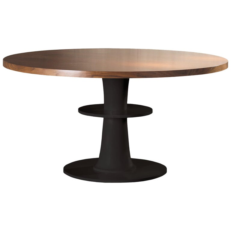 Dinner Table Circular in Plywood Veneer For Sale