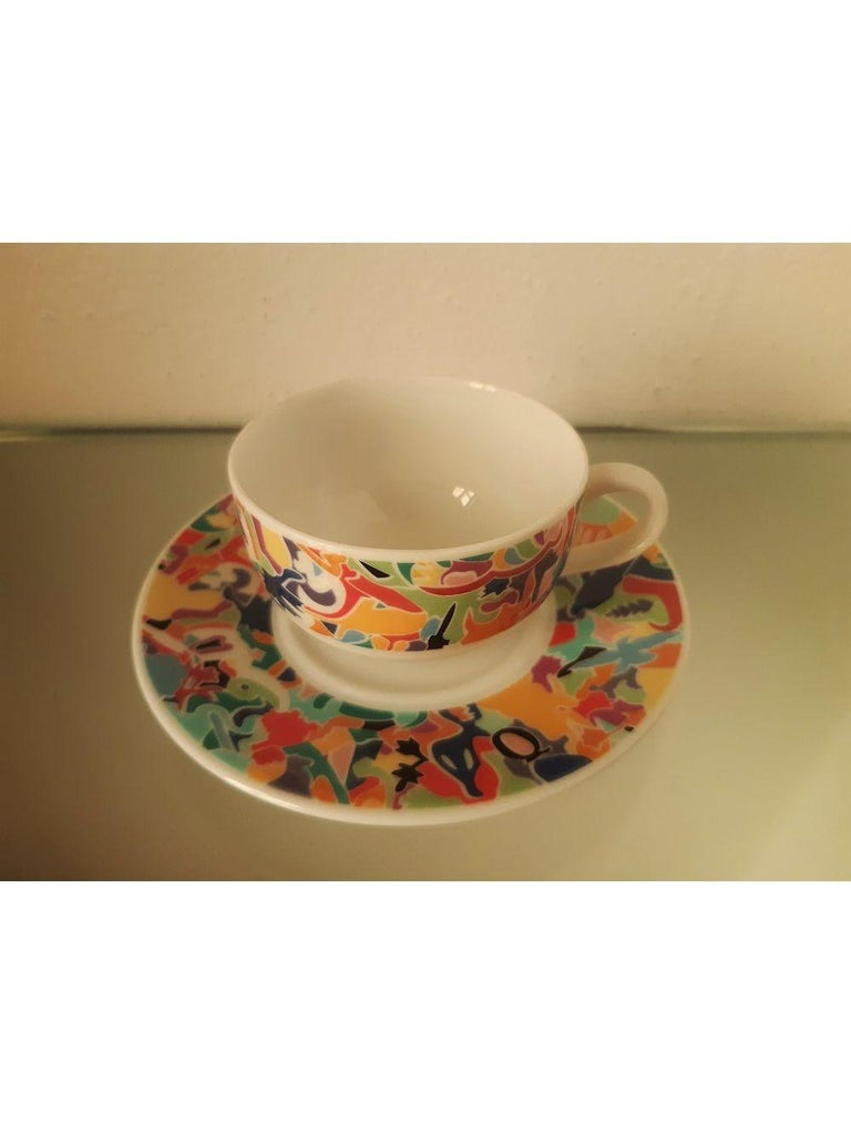 Ceramic Dinnerware Set by A. Boetti and E. Sottsass for Alessi Tendentse, Italy For Sale