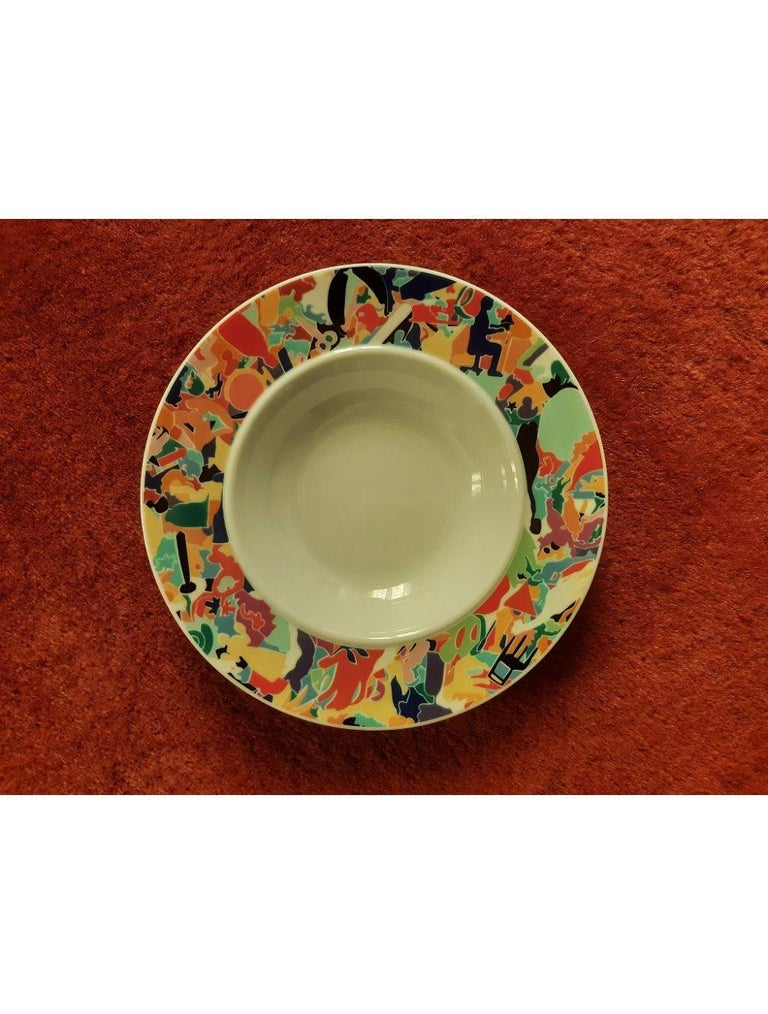 Dinnerware Set by A. Boetti and E. Sottsass for Alessi Tendentse, Italy For Sale 2