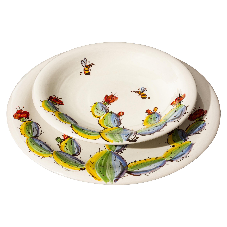 Dinnerware Set by Pantoù Ceramics Hand Painted Glazed Earthenware Contemporary