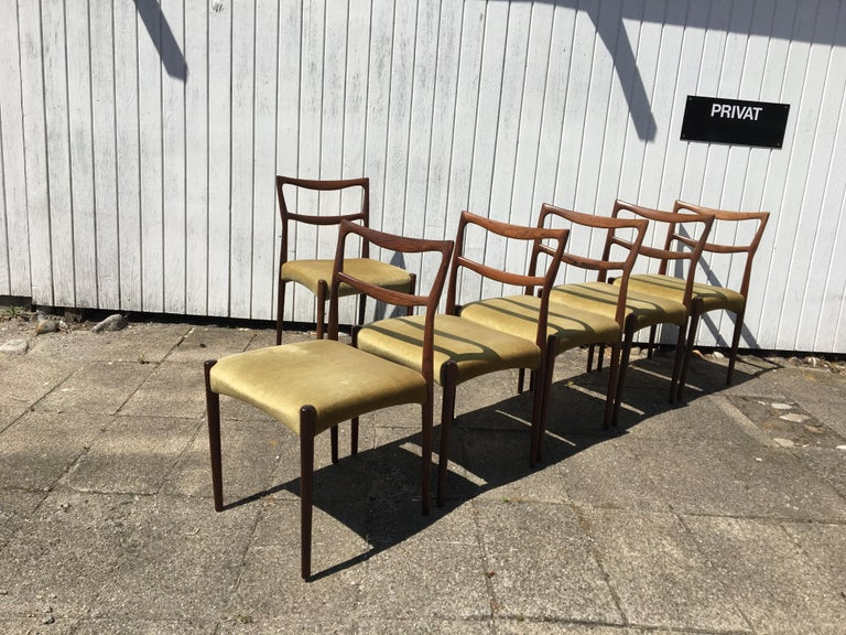 Dinning Chairs in Rosewood. Designer by H.W. Klein In Good Condition In Odense, Denmark