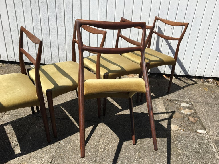 Mid-20th Century Dinning Chairs in Rosewood. Designer by H.W. Klein