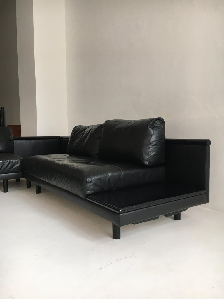 Mid-Century Modern Dino Gavina Sofa Suite Black Leather Sectional, Living Room Suite, Italy, 1960 For Sale
