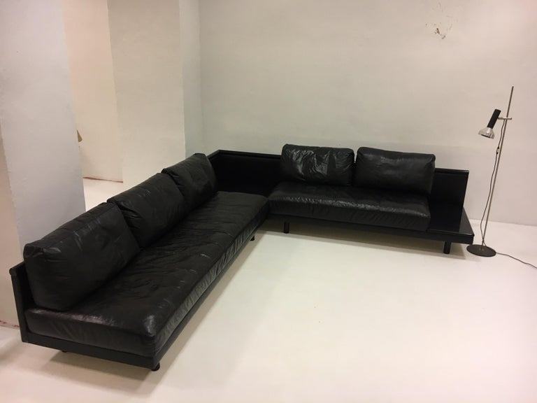 Dino Gavina Sofa Suite Black Leather Sectional, Living Room Suite, Italy, 1960 For Sale 3
