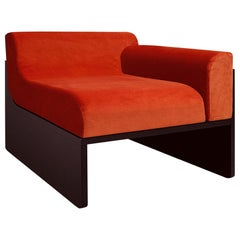 Dino  Lounge Armchair in Coral Velvet Upholstery