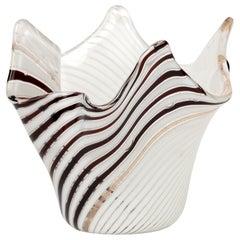 Dino Martens Aureliano Toso Fasce Bianco Nero Fazzoletto Glass Vase