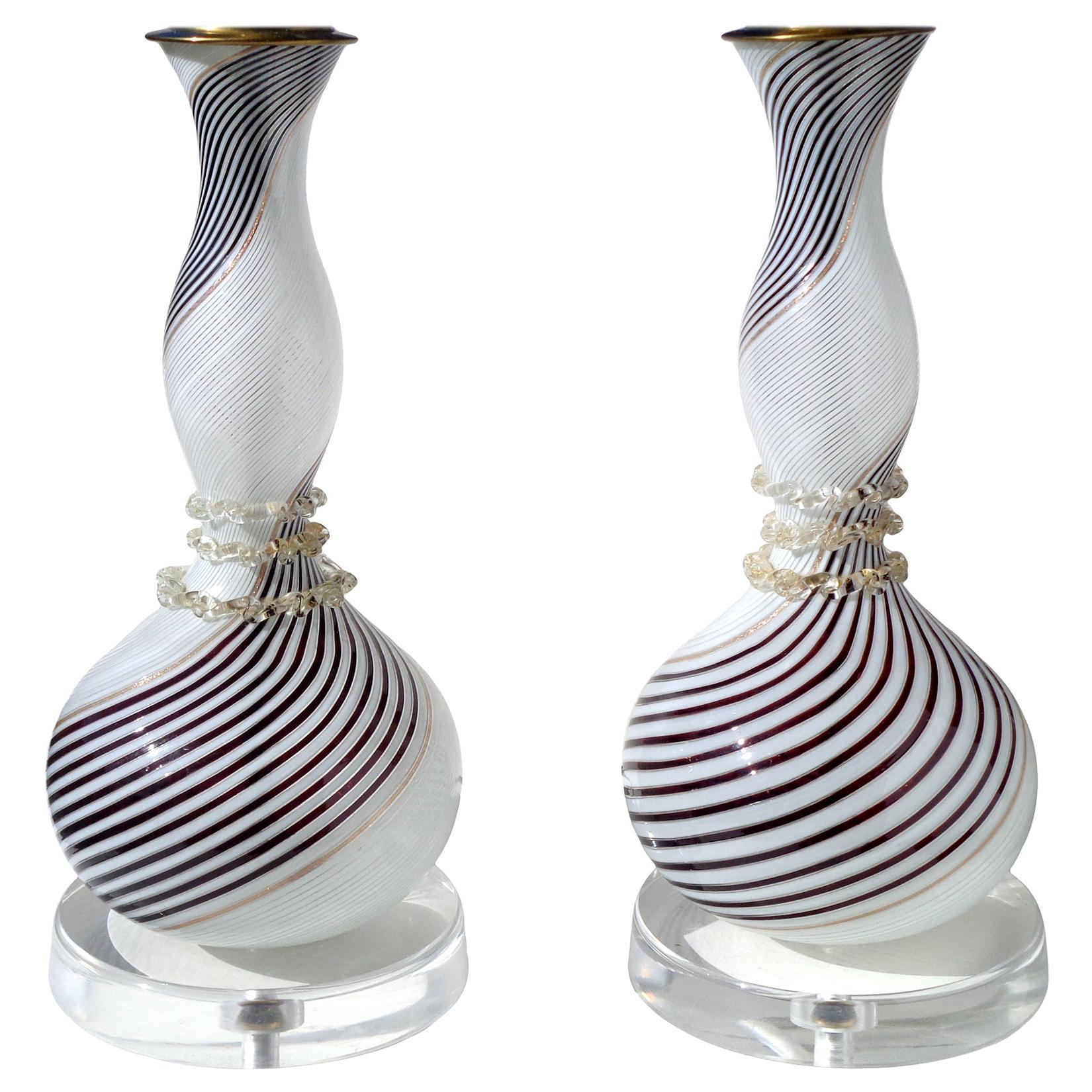 Dino Martens Aureliano Toso Murano Black White Gold Italian Art Glass Lamps