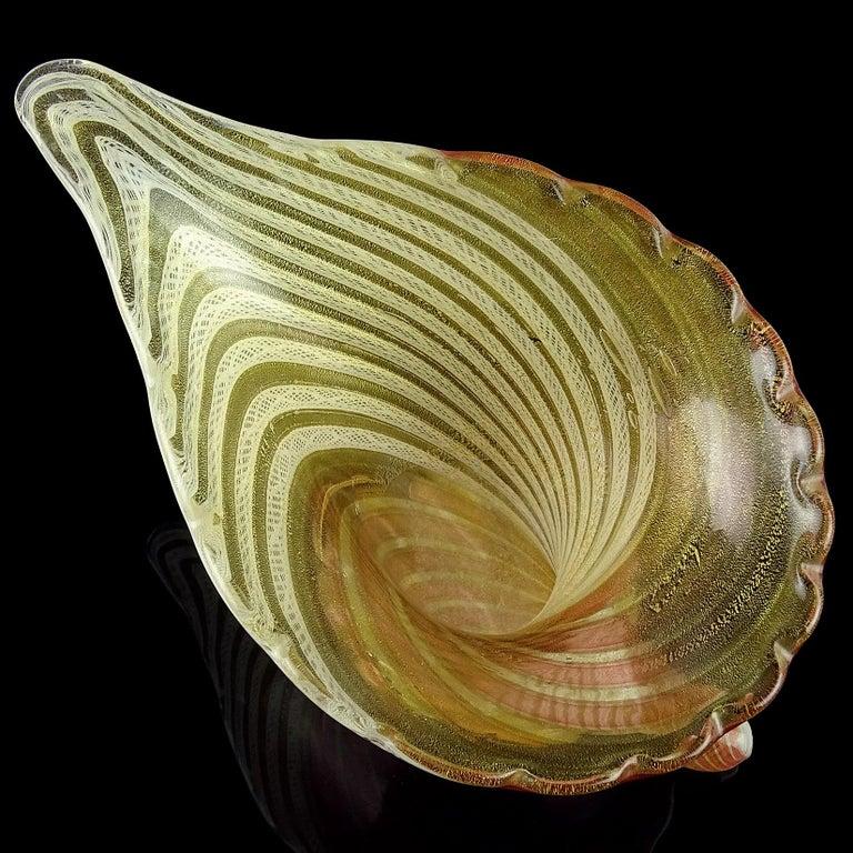 Hand-Crafted Dino Martens Aureliano Toso Murano Gold Flecks Italian Art Glass Flower Vase For Sale