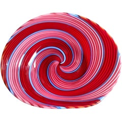 Dino Martens Aureliano Toso Murano Red Pink Blue Italian Art Glass Ribbons Dish