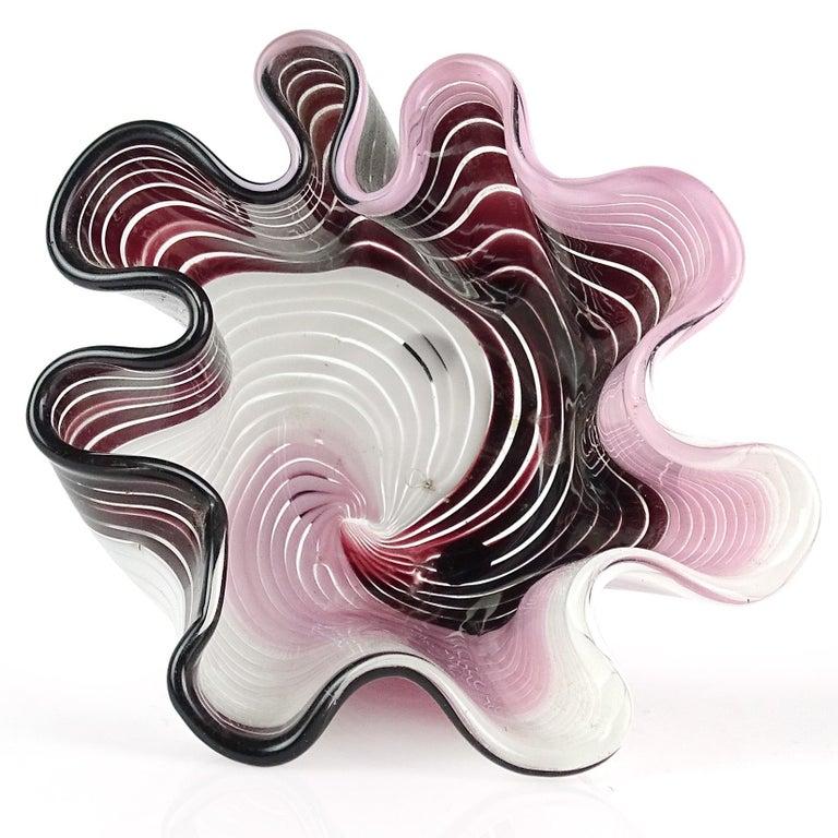 Beautiful Murano hand blown deep purple (almost black), white and pink Italian art glass fazzoletto / handkerchief vase. Documented to designer Dino Martens for Aureliano Toso. Striking alternating color combination. Measures: 5