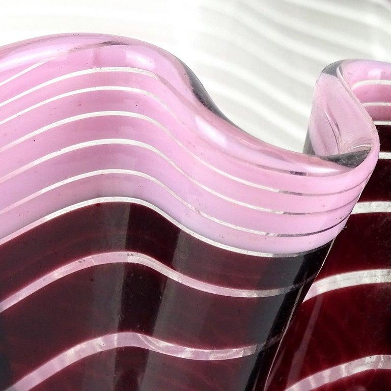 Mid-Century Modern Dino Martens Aureliano Toso Murano Ribbons Italian Art Glass Fazzoletto Vase For Sale